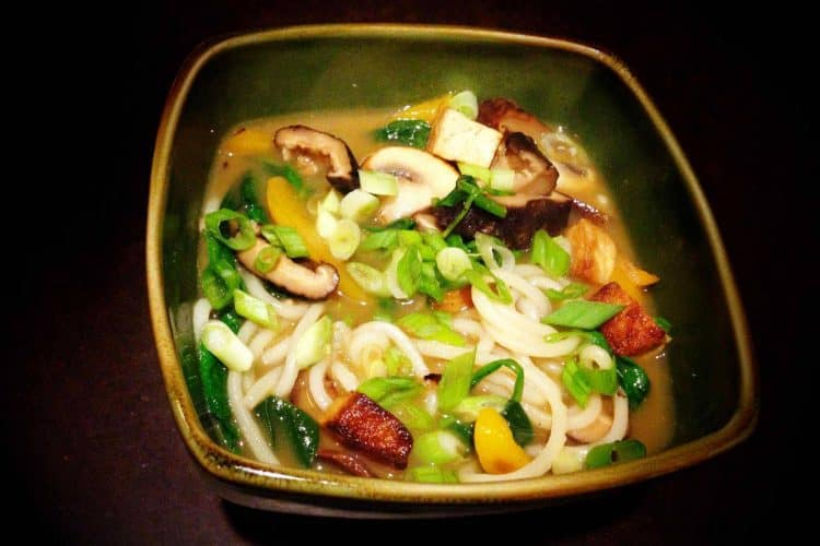 Tofu, Shiitake, and Spinach Udon Noodle Soup…