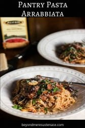 A Pinterest pin of pantry pasta arrabbiata on a black background.