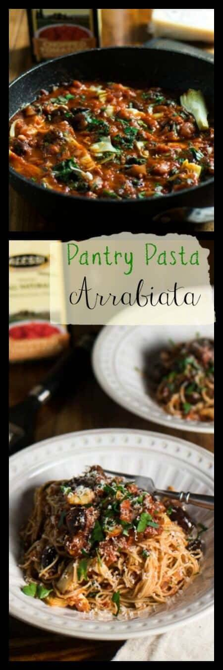 Pantry Pasta Arrabiata - 30 minute pasta dish made with ingredients from your pantry! #pastaarrabiata #quickpastarecipes #pastawithredsauce #quickdinners #pasta