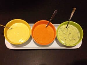 Left to right: Roasted Garlic Aioli, Spicy Sriracha and Smoked Paprika Aioli, and Lemon and Basil Aioli. Yum!