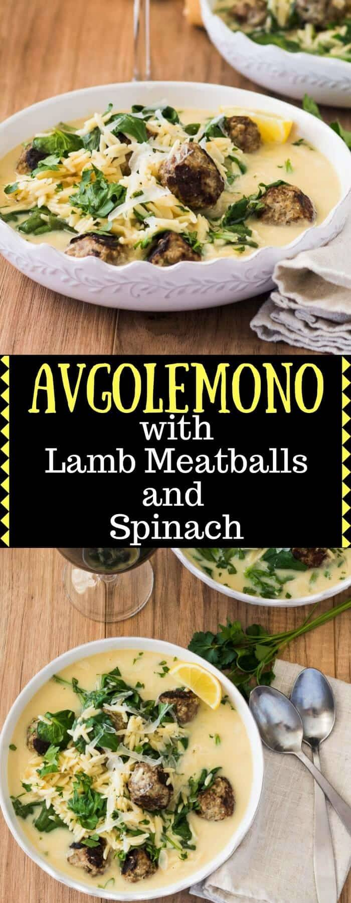 Avgolemono With Lamb Meatballs and Spinach / www.beyondmeresustenance.com