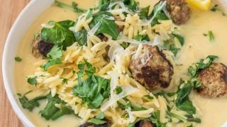 Avgolemono With Lamb Meatballs and Spinach