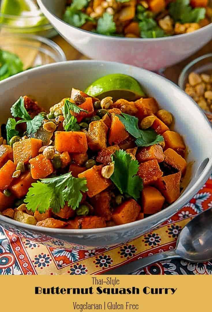 A delicious, healthy curry dish... perfect for your weeknight supper, Thai-Style butternut Squash Curry is full of healthy ingredients and traditional Thai flavors. This dish is sure to please even the carnivores at your table! #glutenfree #vegetarian #Thaicurry #butternutsquashrecipes #fallrecipes #wintersquashmaindishes