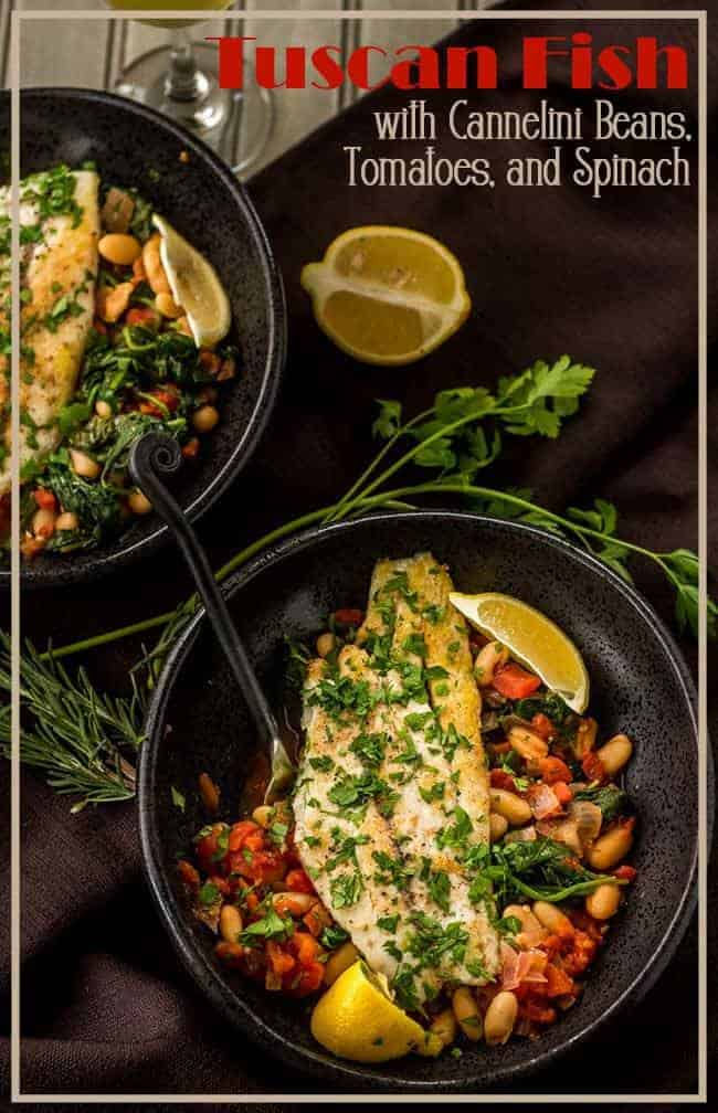 A quick, healthy, and delicious way to prepare inexpensive fish fillets! Tuscan Fish with Cannelini Beans, Tomatoes, and Spinach packs lots of bold flavor in a one-dish meal... It can be ready in 30 minutes, and it's super healthy! #fishrecipes #glutenfreefish #lowcarbmains #Tuscanfish #fishandcannelini #Tuscanrecipes