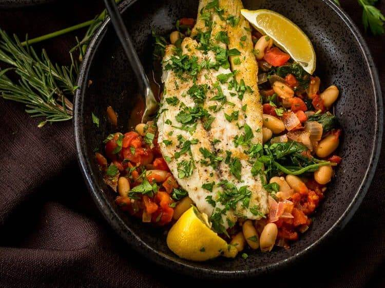 Tuscan Fish With Cannelini Beans, Tomatoes, & Spinach Hero