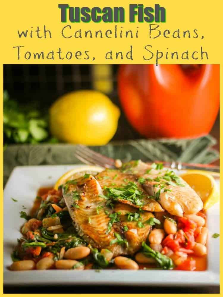 Tuscan Fish with Cannelini Beans, Tomatoes, and Spinach - A quick, healthy, and delicious way to prepare inexpensive fish fillets! Tuscan Fish with Cannelini Beans, Tomatoes, and Spinach packs lots of bold flavor in a one-dish meal... quick fish recipes | healthy recipes | gluten free main dishes