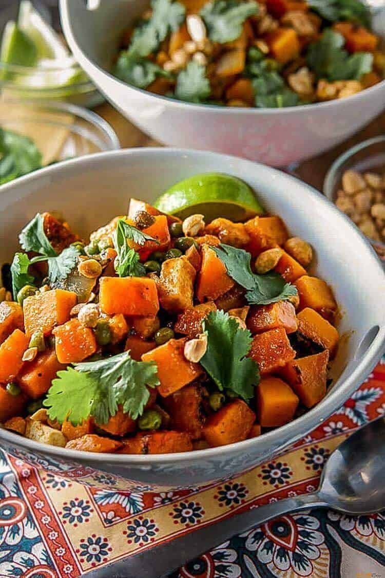 Thai Butternut Squash Curry in a round white bowl.