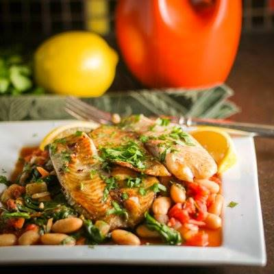 Tuscan Fish With Cannelini Beans, Tomatoes, & Spinach