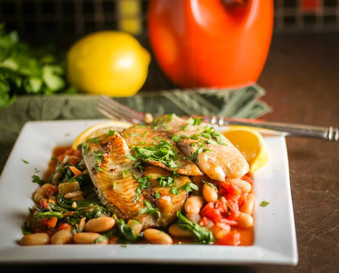 Tuscan Fish with Cannelini Beans, Tomatoes, and Spinach