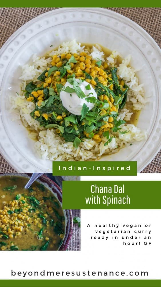 a collage of chana dal with spinach and rice photos.