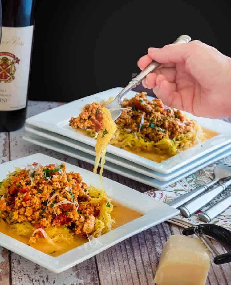 Healthy Turkey Bolognese and Roasted Spaghetti Squash Hand Shot