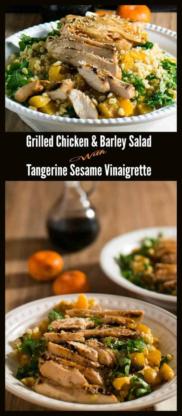 Grilled Chicken and Barley Salad with Tangerine Sesame Vinaigrette - healthy roasted root veggies, vitamin-rich greens, sweet citrus come together in a flavorful and super-healthy Asian-inspired main dish salad!