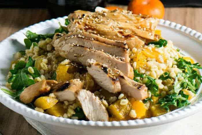 Grilled Chicken and Barley Salad with Tangerine Sesame Vinaigrette