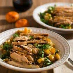 Grilled Chicken and Barley Salad with Tangerine Sesame Vinaigrette