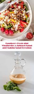 A fresh, bright dressing for your favorite salads, Raspberry Fresh Mint Vinaigrette will liven up the simplest salads... You'll find 1 recipe and tips on creating your own fabulous (and healthy) salad dressings! #homemadevinaigrette #raspberryvinaigrette #glutenfree #homemadesaladdressings #freshmintvinaigrette #springsalads #spinachsalads