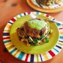 Green Chile Salmon Cakes With Black Bean & Corn Salad
