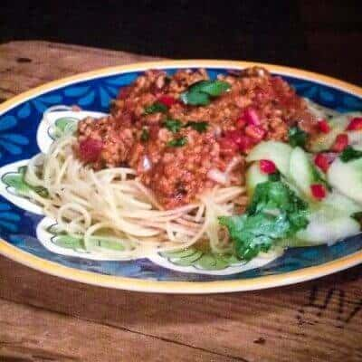 Thai Fried Ground Pork with Angel Hair