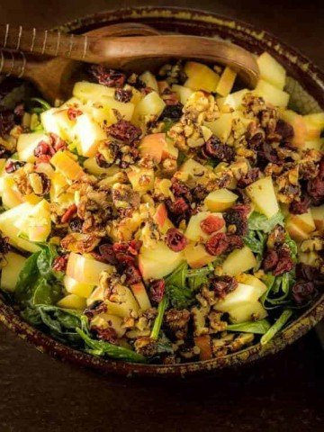 Spinach Salad with Apples and Vanilla Poppy Seed Dressing Feature