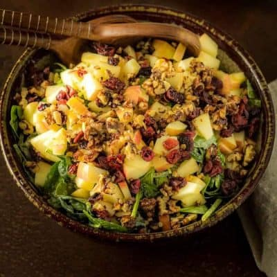 Spinach Salad with Apples and Vanilla Poppy Seed Dressing
