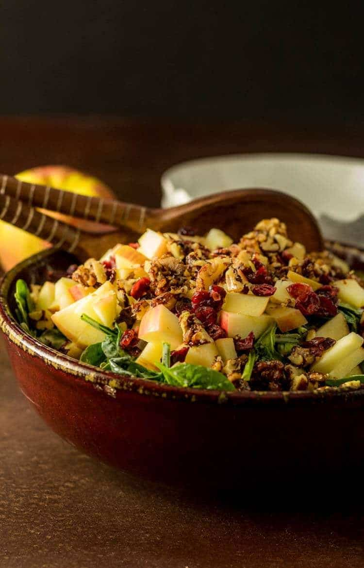 Spinach Salad with Apples and Vanilla Poppy Seed Dressing with Spoons