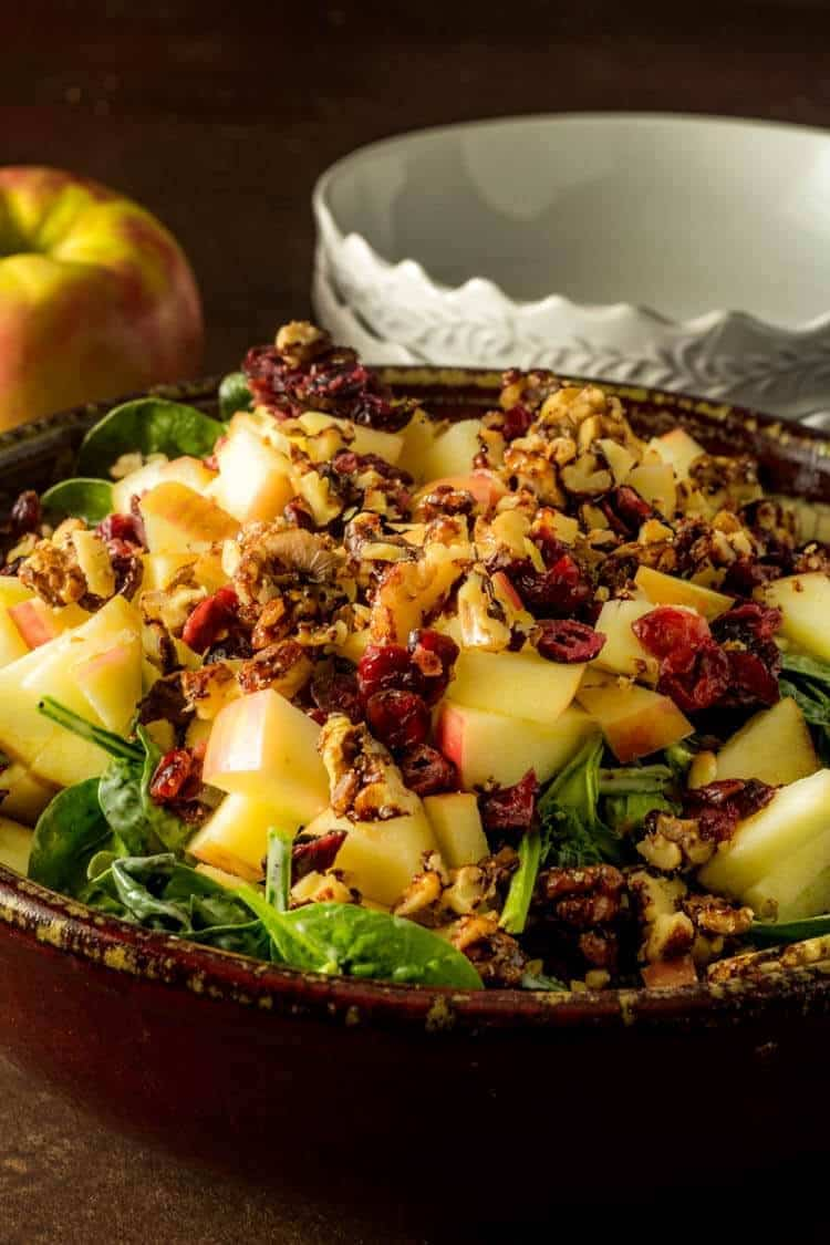 Spinach Salad with Apples and Vanilla Poppy Seed Dressing Hero