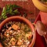 A healthy, flavorful soup chock full of healthy ingredients, Smoked turkey and Barley Soup with Kale and Butternut Squash is perfect comfort food on a chilly winter's evening! #smokedturkeysoup #turkeyandbarleysoup #barley #smokedturkey #wintersquashsoup #wintersouprecipes #kale #souprecipes