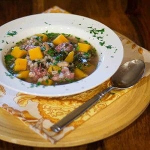 Winter Squash, Kale, & Barley Soup With Smoked Turkey