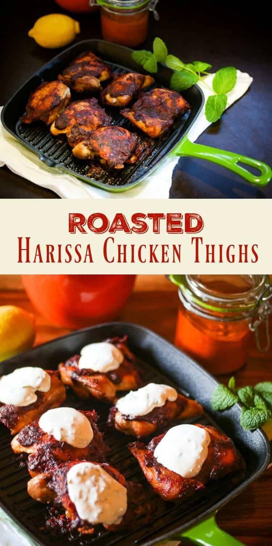 Harissa, a favorite condiment in North African cuisine, gives my simple Roasted Harissa Chicken Thighs a fiery and flavorful kick! #harissachicken #harissa #NorthAfricancooking #glutenfree #healthyrecipe #chickenthighs