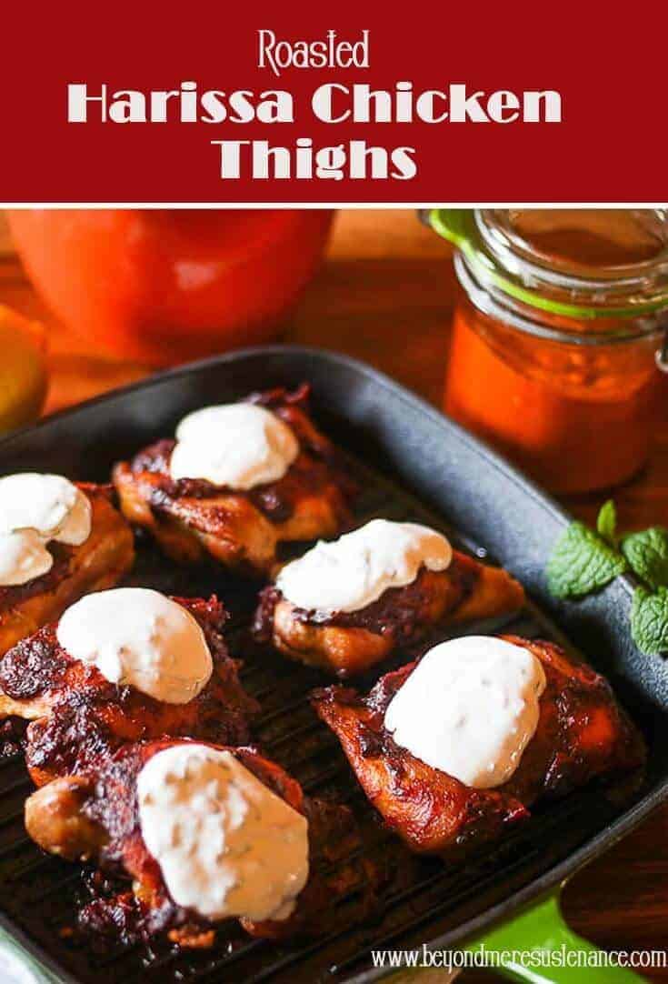 Harissa, a favorite condiment in North African cuisine, gives my simple Roasted Harissa Chicken Thighs a fiery and flavorful kick! #harissachicken #harissa #NorthAfricancooking #glutenfree #healthyrecipe #chickenthighs #cleaneatingchickenrecipes