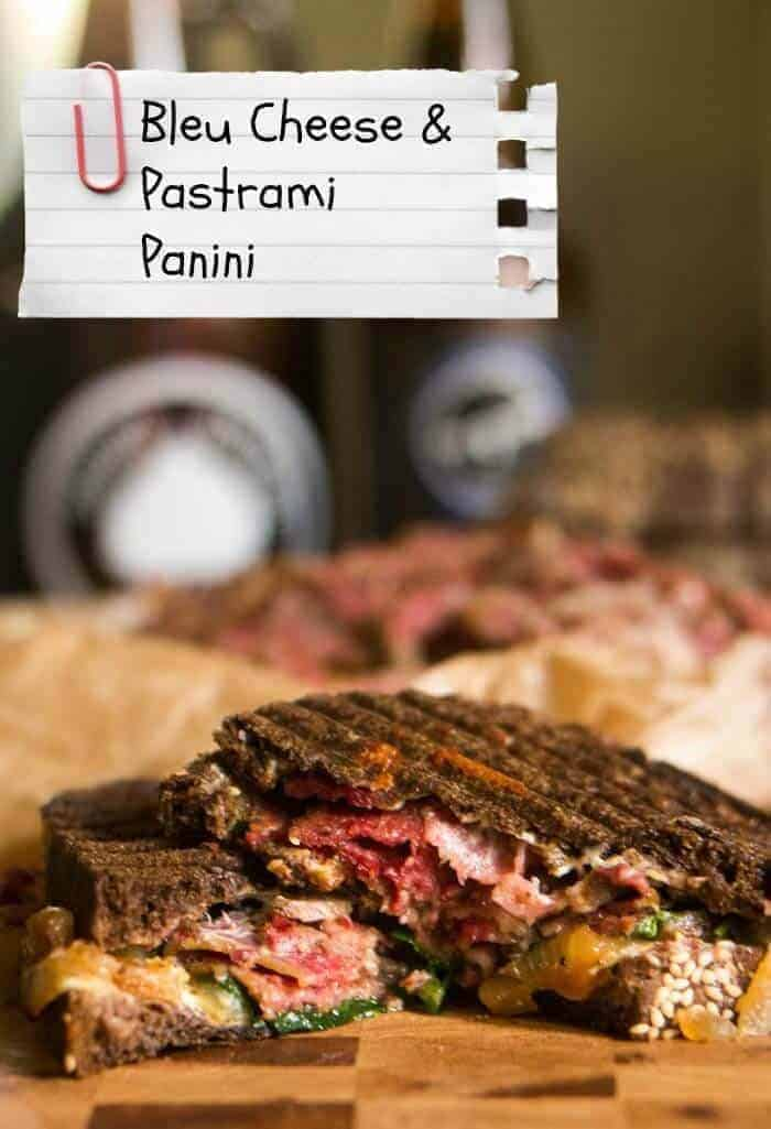Bleu Cheese and Pastrami Panini - pumpernickel with a creamy & pungent bleu cheese spread, peppery arugula, caramelized onions, and pastrami - a great alternative to fast food on a busy night!
