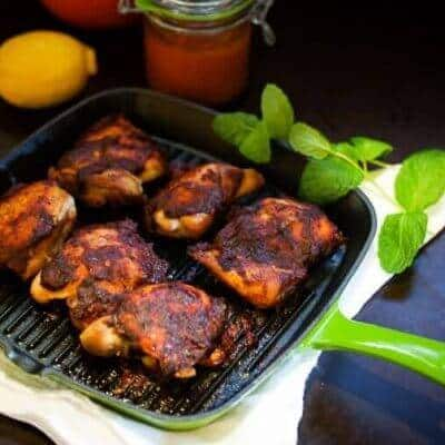 Roasted Harissa Chicken Thighs
