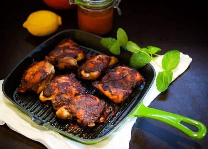 Roasted Harissa Chicken Thighs