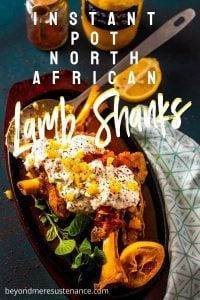 North African Pressure Cooker Lamb Shanks - square image of lamb shanks in cast iron.