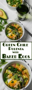 Creamy polenta is flecked with smoky turkey bacon and spicy green chile, then baked with an egg over top. Green Chile Polenta with Baked Eggs makes an amazing brunch dish, but you can certainly enjoy it any time of day!