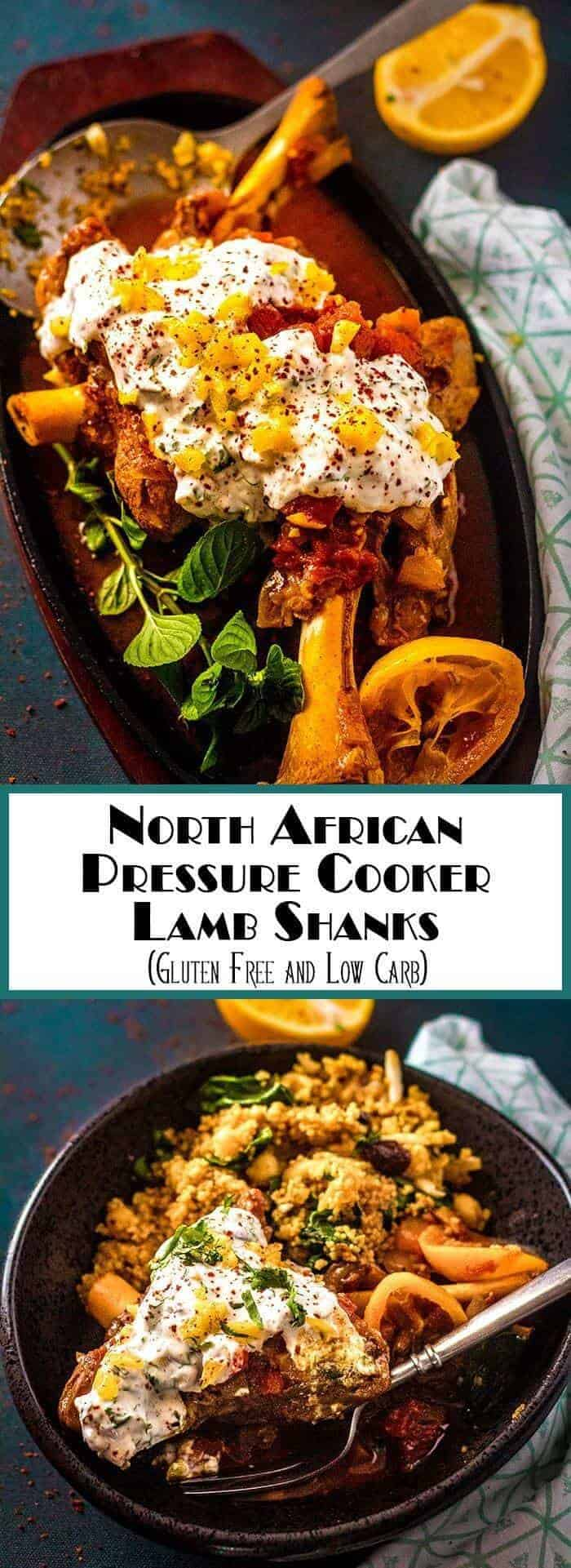 Bold North African flavors sing in this substantial lamb dish... North African Pressure Cooker Lamb Shanks has slow-cooked tenderness and flavor with the aid of your pressure cooker! Serve with simple or adorned couscous, freekeh, or brown rice... Instant Pot | Lamb Recipes | Moroccan | Pressure Cooker | North african | Gluten Free | Low Carb