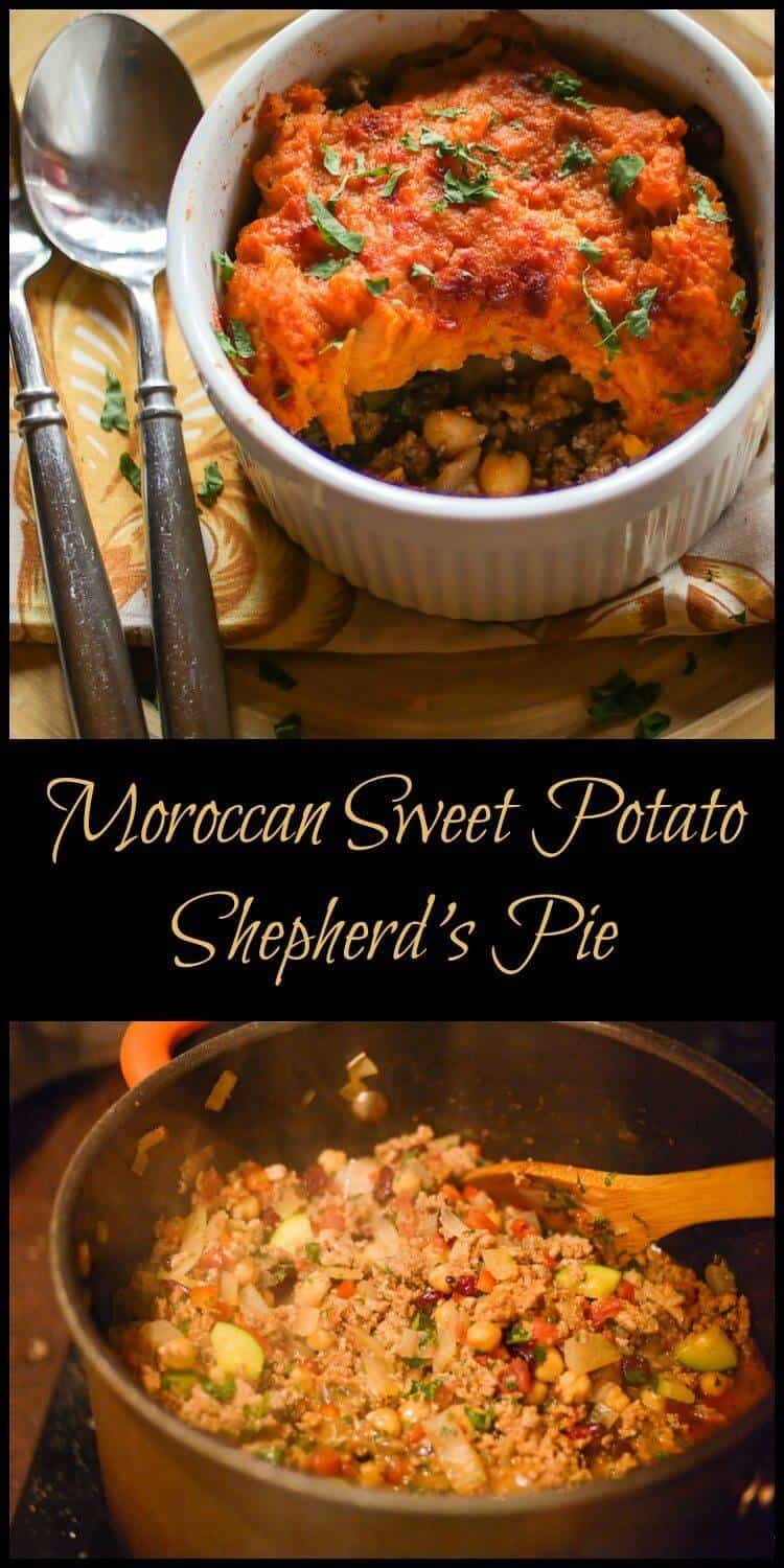 Moroccan Sweet Potato Shepherd's Pie - The warm, aromatic spices of Moroccan cuisine combine with healthy ingredients in this robust dish reminiscent of a shepherd's pie… Moroccan Sweet Potato Pie is comfort food with an exotic twist! Moroccan recipes | shepherd's pie | healthy cooking | gluten free