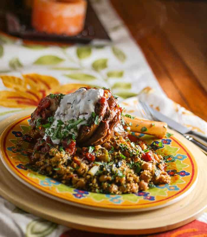 Pressure-Cooker Braised Lamb Shanks & Couscous