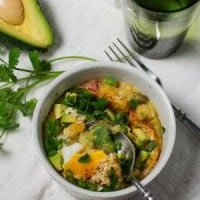 Baked Green Chile Polenta with Baked Eggs