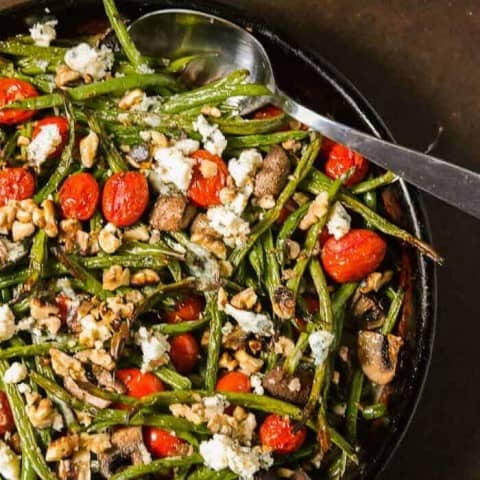 Roasted Green Beans with Tiny Tomatoes, and Bleu Cheese Pin