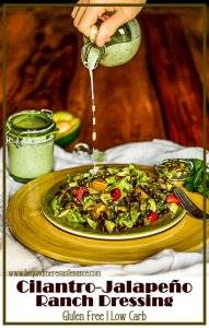 Southwest flavors in a healthy and delicious homemade ranch dressing... Cilantro Jalapeño Ranch Dressing uses fresh, healthy ingredients to complement your fresh salad ingredients. Gluten Free | Salad Dressings | Homemade Dressings | Cilantro Ranch | Jalapeno Ranch
