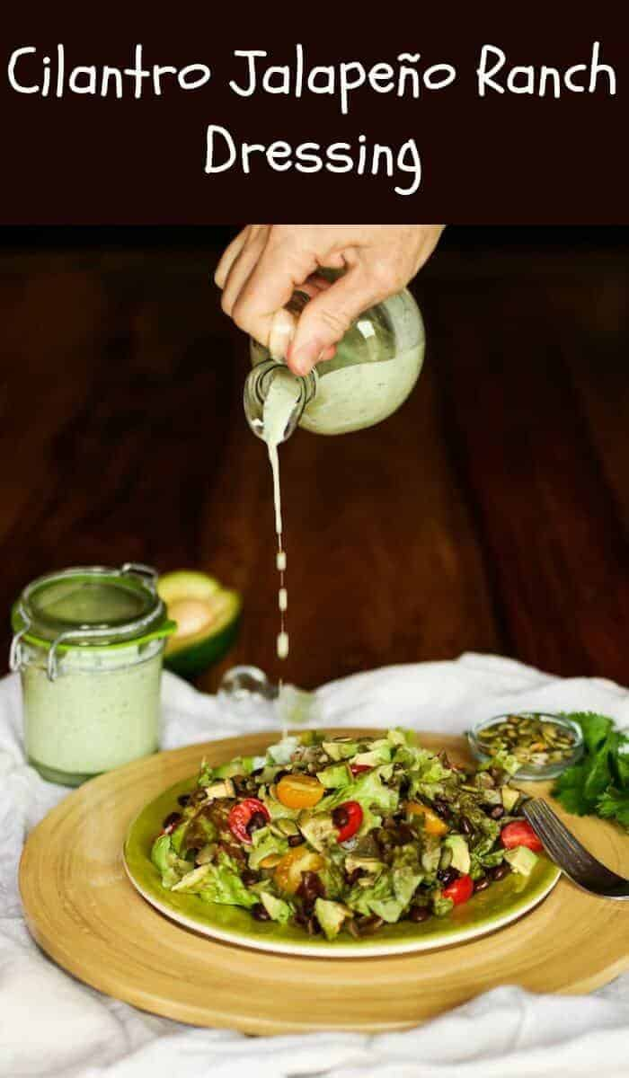 Cilantro Jalapeno Ranch Dressing - Southwest flavors in a healthy and delicious homemade ranch dressing... Cilantro Jalapeño Ranch Dressing uses fresh, healthy ingredients to complement your fresh salad ingredients.