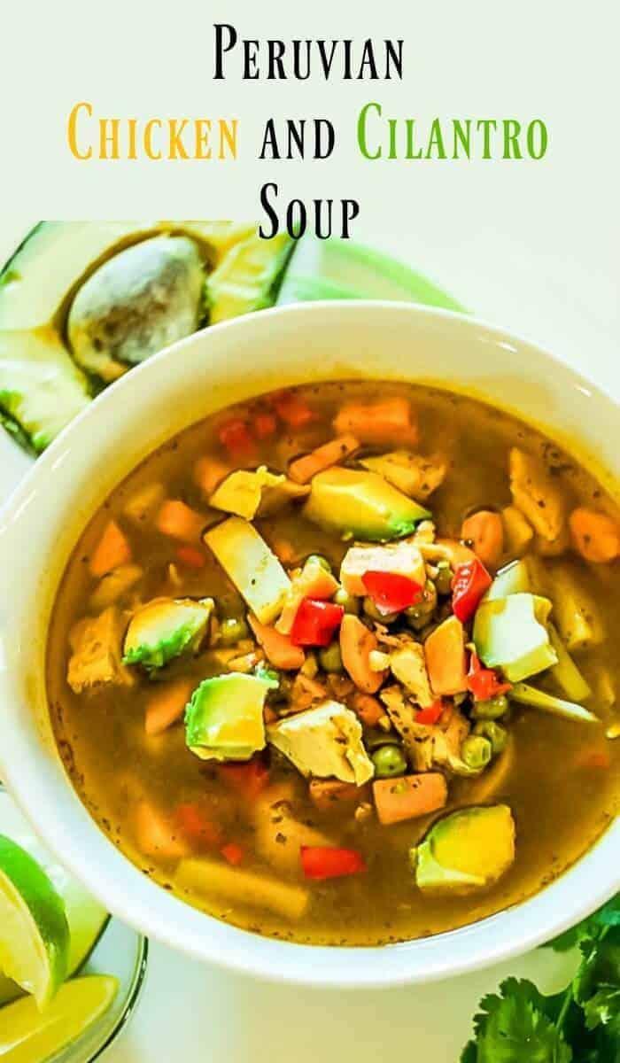 Peruvian Chicken and Cilantro Soup - Chicken soup with a twist... the flavors of Peru! Aji amarillo provides a bit of fruity heat, and cilantro shines in my healthy and warming Peruvian Chicken and Cilantro Soup!