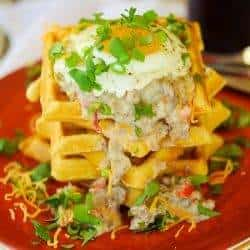 Savory Cornmeal Waffles With Green Chile and Sausage Gravy