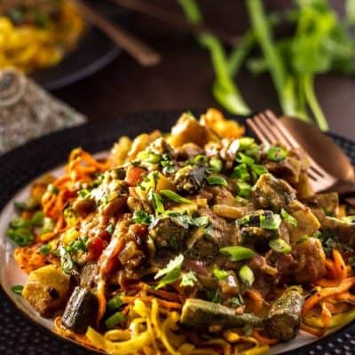 Low Carb Groundnut Stew with Chicken and Spiralized Sweet Potatoes