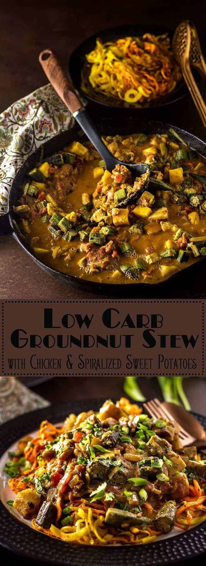 Creamy, spicy, savory, with a touch of sweetness,  Low Carb Groundnut Stew with Chicken and Spiralized Sweet Potatoes hits the flavor notes of a traditional West African groundnut stew in a less traditional fashion. Spiralized sweet potatoes make a perfect base for this healthy, flavorful stew, and it can be on your table in less than 45 minutes! groundnut stew | low carb main dishes | low carb chicken | spiralized sweet potatoes | chicken and peanut stew