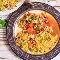 Quick Calamari Curry with Coconut Rice
