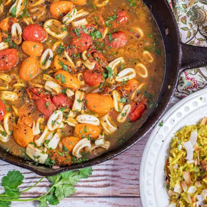 Calamari Curry With Coconut Rice