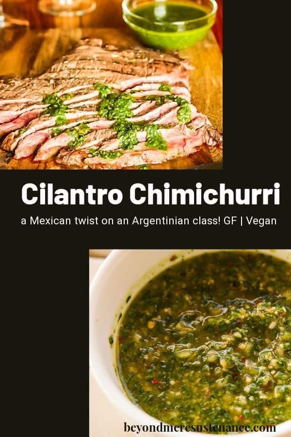 A collage pin of cilantro chimichurri salsa on a black background.