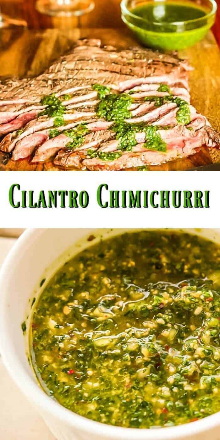 Cilantro Chimichurri - Not a traditional Argentinian chimichurri... It's just as fresh and bright, but includes fresh cilantro, sherry vinegar, and generous amounts of garlic and crushed red pepper. Cilantro Chimichurri comes together in a flash, and pairs well with many dishes, but is glorious on beef!