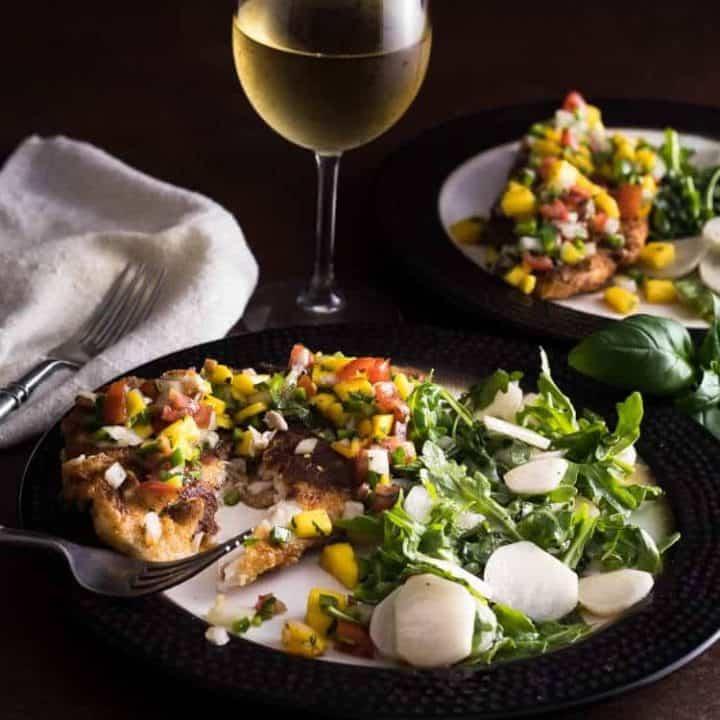 Pan-Fried Fish with Apricot Salsa and Arugula Salad